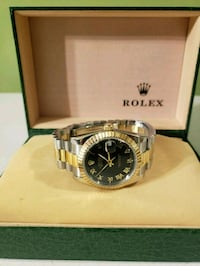 round silver Rolex analog watch with link bracelet Charlotte, 28262