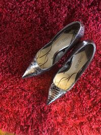 Pair of rose gold leather pointed-toe heels Eastchester, 10709