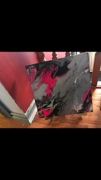 grey, pink, and black abstract painting Grande Prairie, T8V 5J4