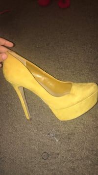 pair of yellow suede platform stilettos Washington, 20019