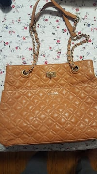 quilted brown Guess leather tote bag