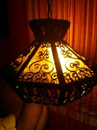 VINTAGE GOTHIC ANTIQUE ROD IRON Swag Lamp
