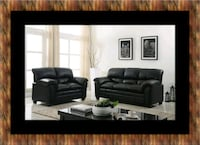 Black bonded sofa and loveseat East Riverdale