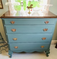 Stormy blue solid wood dresser chest of drawers Kensington