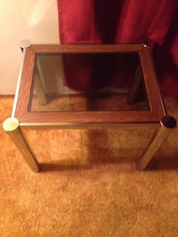 rectangular brown wooden framed glass-top coffee table South-West Oxford, N0L