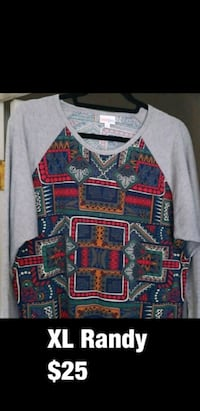 blue, red, and white tribal print sweater Riverbank, 95367