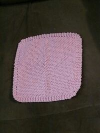 pink knitted doily