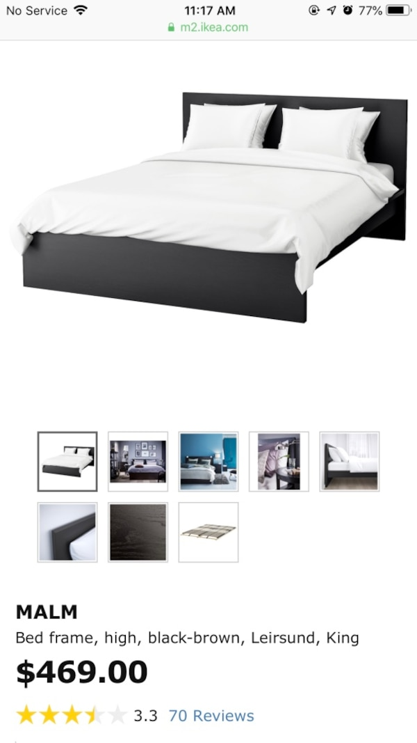 Sold Ikea Malm Bed Frame Only Black Brown King Size In Hayward