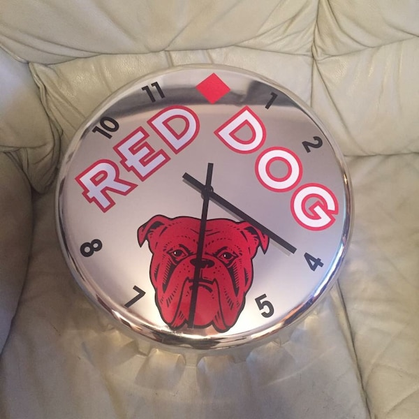 Grey red dog analog wall clock