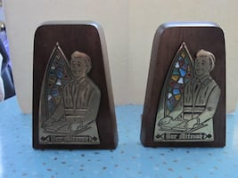 Vintage Bar Mitzvah Wood and Brass Bookends