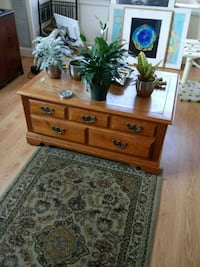brown wooden 2-drawer coffee table on wheels