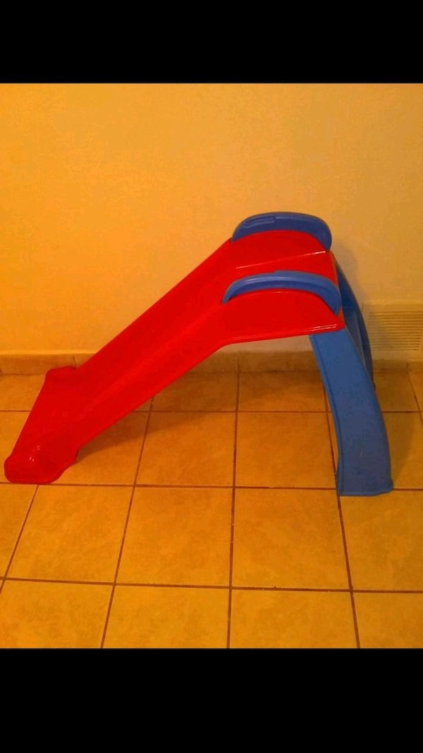 red and blue plastic slide