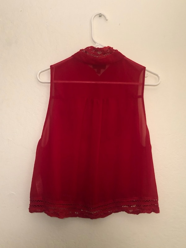 7b422d53d2724b Used Topshop Women s Size 12 Red Sleeveless Blouse for sale in ...