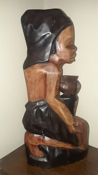"""19"""" Wood African Wall Art Statue Made In Ghana Chester"""
