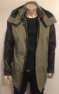 BRAND NEW MACKAGE DAMIAN LONG CANVAS KHAKI JACKET WITH LEATHER SLEEVES SIZE M/40 $1200 (Retail) Toronto, M8V 0E3
