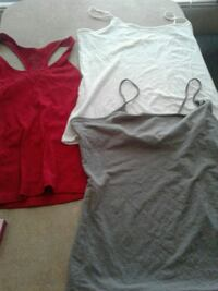 two red and gray tank tops