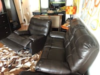 Black leather 2-seat recliner sofa and 1 lazy Boy Montréal, H4C
