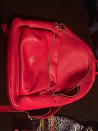 Red leather Coach backpack Jackson