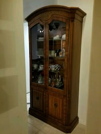 brown wooden framed glass display cabinet Weston, 33326