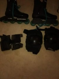 Rollr blades and branded kneepads and wrist guards