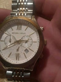 round silver Michael Kors chronograph watch with link bracelet Douglasville, 30134