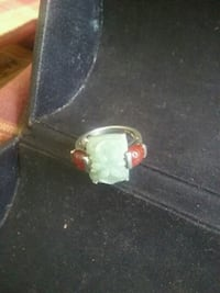 Green and red Jade Ring set in sterling  Tulsa, 74108