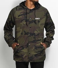 Men's black, brown, and green obey camouflage print button-up jacket