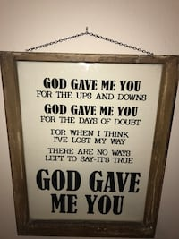 God Gave Me You printed brown wooden framed wall decor