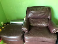 Maroon leather chair and ottoman Springfield, 97477