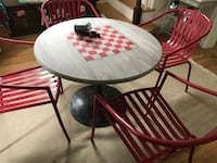 round brown wooden table with four chairs dining set Milford, 19963