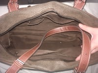 brown and black leather tote bag Lake Country