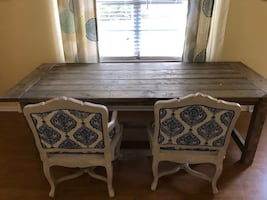 Farm table with accent chairs