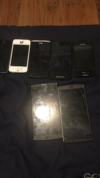 V10 needs to be repaired. All the other phones are still working on the left corner black iPhone is cracked Franklin, 07416