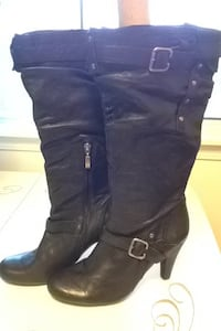 Guess black leather slouchy boots  null, V0R