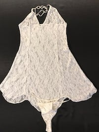 Women's white lace short gown and string