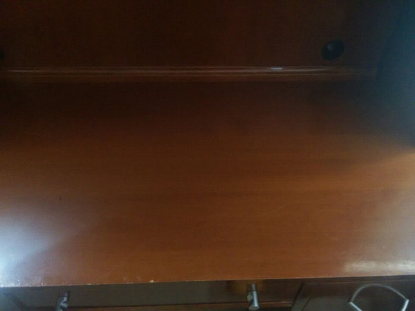 brown wooden desk with hutch 2