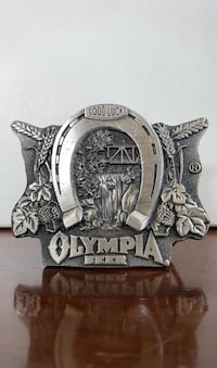 Vintage Olympia Beer Good Luck Metal Belt Buckle & Bottle Opener