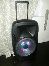 black portable PA speaker