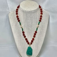 14k Gold, Green Jade & Red Coral Beaded  Necklace Sterling, 20166