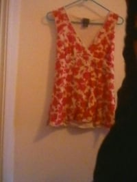 red and beige floral wide-strap top