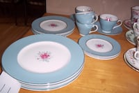 blue-white-and-pink floral dinnerware set Calgary