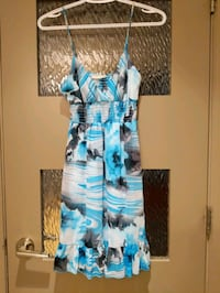 Floral dress blue, black,grey size small