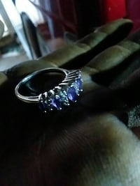 silver-colored purple and clear gemstone encrusted ring Midland, 79701
