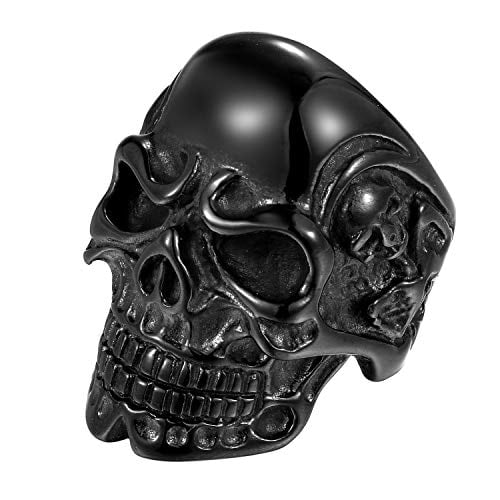 Brand new Stainless Steel Bikers Gothic Skull Ring Bands,Black,for Mens,with Gift Bag