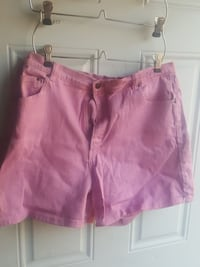 pink and white denim shorts