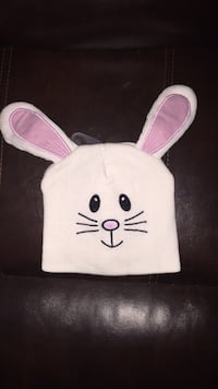 pink and white rabbit head knit cap Toney, 35773