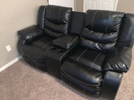 Black Leather Love Seat & Sofa