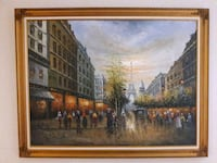 Hand painted Canvas Paris Print and Frame Diamond Bar, 91765