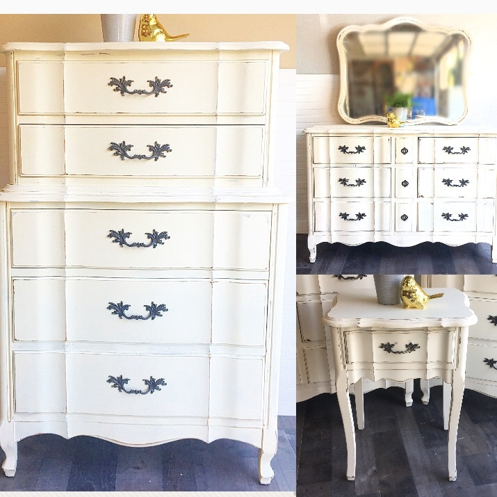 FRENCH PROVINCIAL FURNITURE BEDROOM SET Shabby Chic Farmhouse Style Dresser  Chest Of Drawers Tall Boy Night