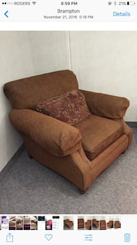 brown fabric sofa chair with throw pillow Toronto, M4X